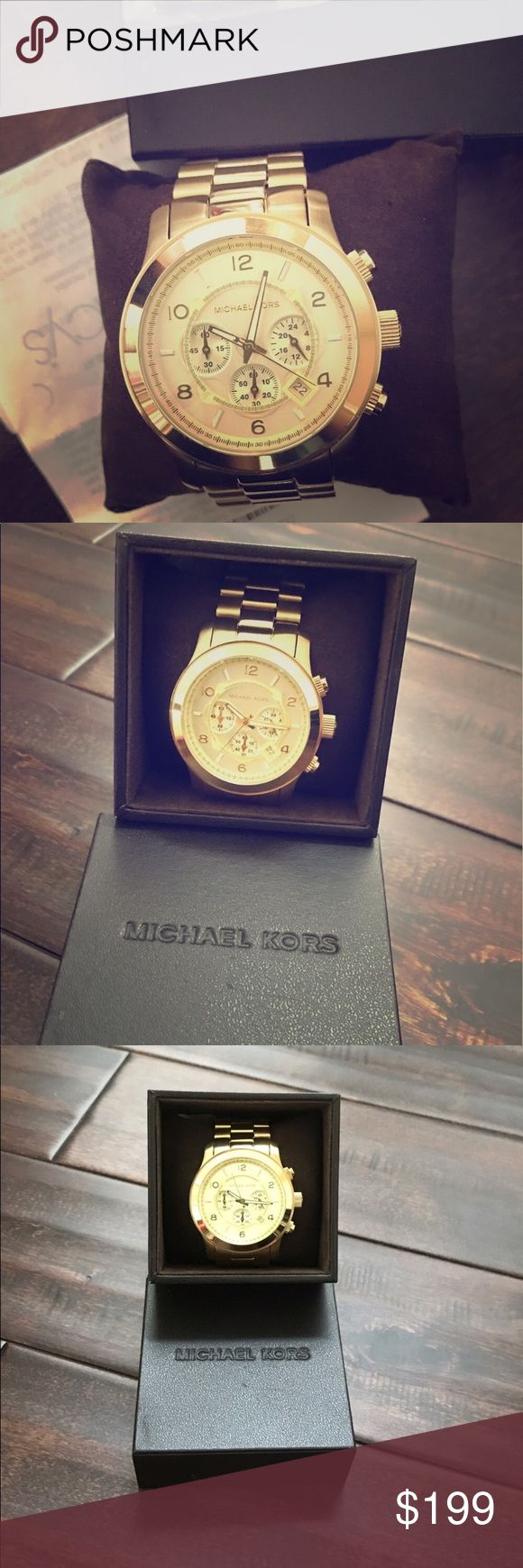 NWT Men's Michael Kors gold tone chronograph watch NWT Men's Michael Kors gold tone chronograph runway oversized watch. Perfect condition, brand new! Beautiful watch! Authentic. receipt shows purchase. MK8077 **This item is excluded from bundles** Michael Kors Accessories Watches