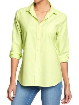 I have maybe one yellow item besides this in my closet.  Womens Oxford Shirts #oldnavy