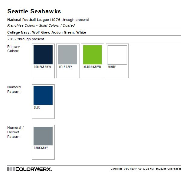 Seattle Seahawks Paint Colors
