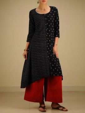 Black-Grey Hand woven Ikat Asymmetrical Cotton Kurta
