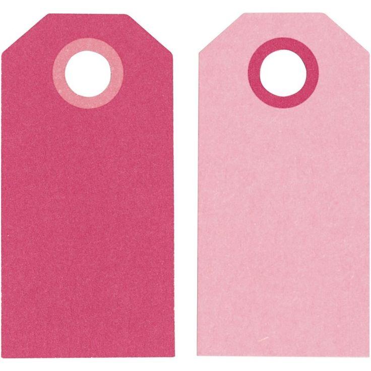 Label afmeting 3 x 6 cm 20 stuks Roze/ Fuchsia