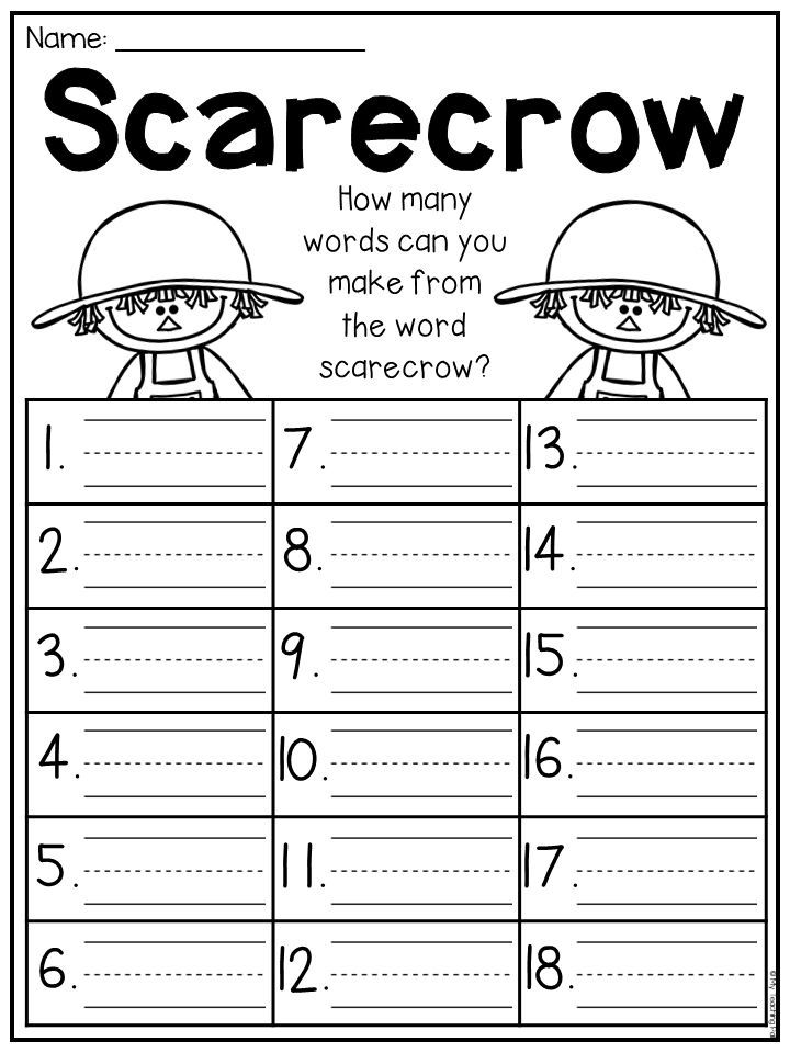 Fall Worksheet For First Grade How Many Words Can You Make From The Word Scarecrow This Fall Kindergar Literacy Worksheets First Grade Math Preschool Phonics Fall worksheets for first grade