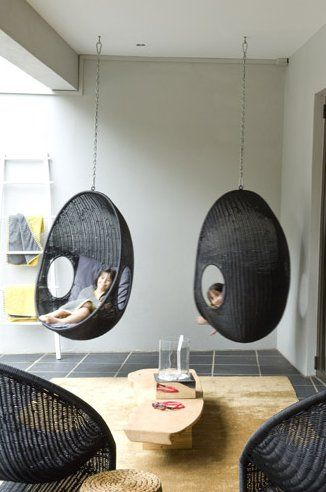 These hanging chairs would be great swings in a playroom. Another pinner attributes $89 as the price since they have something similar at IKEA.