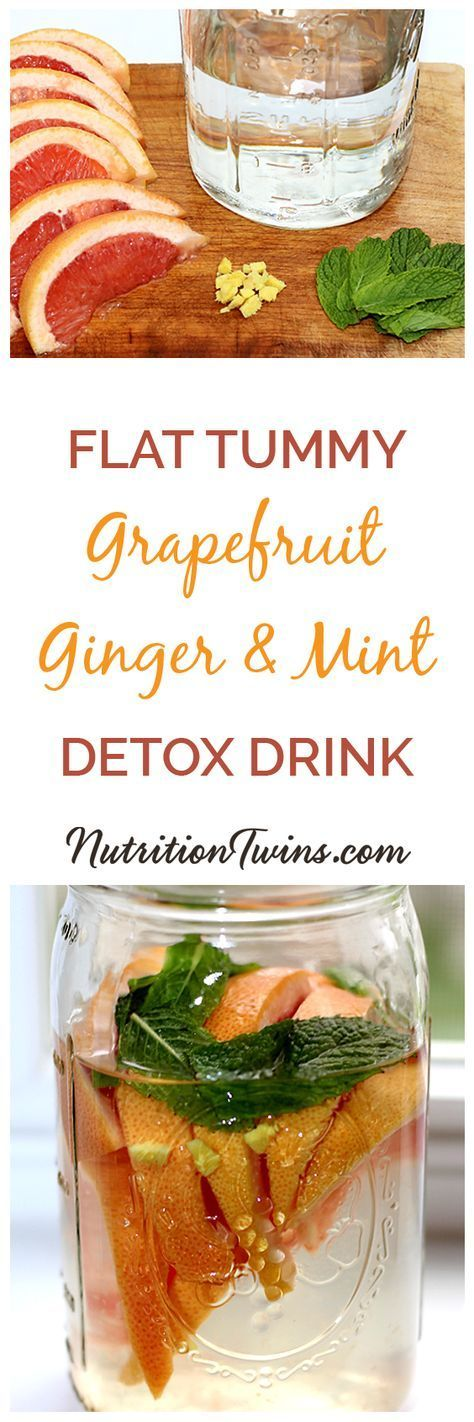 """Grapefruit Ginger Mint """"Detox"""" Drink   Flush bloat & Puffiness   Anti-inflammatory nutrients calm insides   Rinse salt   Squash Sugar Cravings   Feel lighter & Bloat-free For MORE RECIPES, fitness & nutrition tips please SIGN UP for our FREE NEWSLETTER www.NutritionTwins.com and please follow us on Instagram https://www.instagram.com/nutritiontwins/"""
