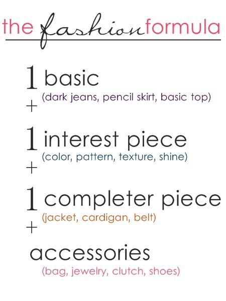 Struggling to pull an outfit together this morning? Let me help! Follow this formula!! (Math was never my forte, but this is math anyone can do!!) ;) Hope it helps!