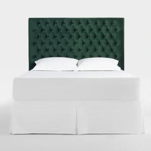 Elevate your bedroom decor with our forest green headboard featuring diamond tufting and smooth velvet-like upholstery for a sophisticated edge.