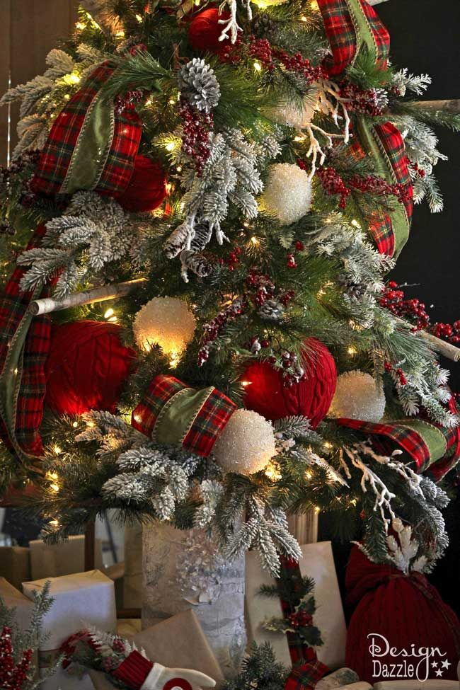 What would Santa's Christmas tree look like at his cabin Well, here it is- plaid, cozy knits, snow, birch and hints of reindeer make this into a dream tree