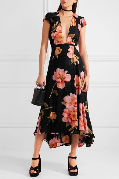 EXCLUSIVE AT NET-A-PORTER.COM. Reformation's midi dress has a dramatic plunge neckline that means it best suits smaller busts. Printed with painterly florals, this piece is cut from weightless georgette made using renewable plant materials and has a graduated skirt that moves breezily as you walk.