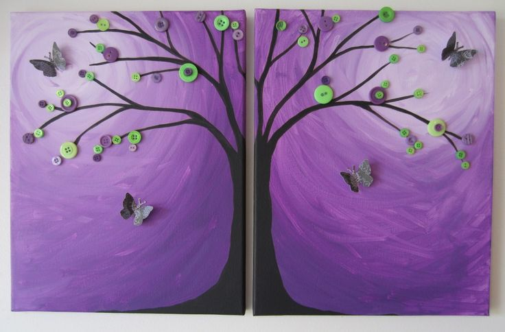 detailed button tree tutorial -easy :)Bust Buttons, Trees Art, Canvas Painting, Buttons Art, Butterflies Buttons, Buttons Trees, Buttons Branches, Painting Tutorials, Blends Tutorials