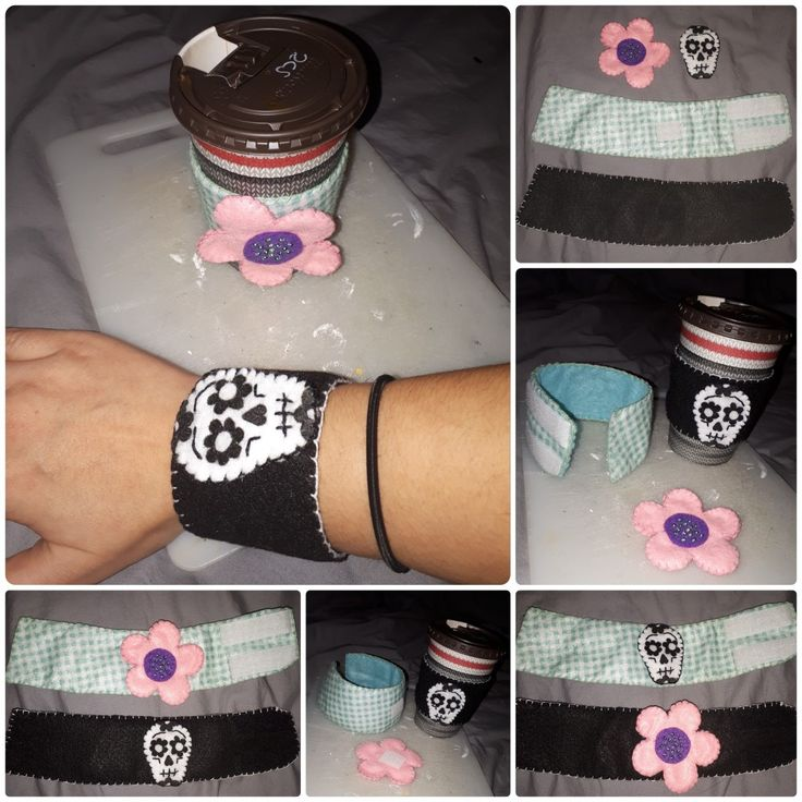 Manchons/bracelets 2 en 1 en feutrine avec motifs interchangeables