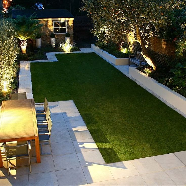 Contemporary yard design with artificial lawn, raised beds, and pavers. Low maintenance.