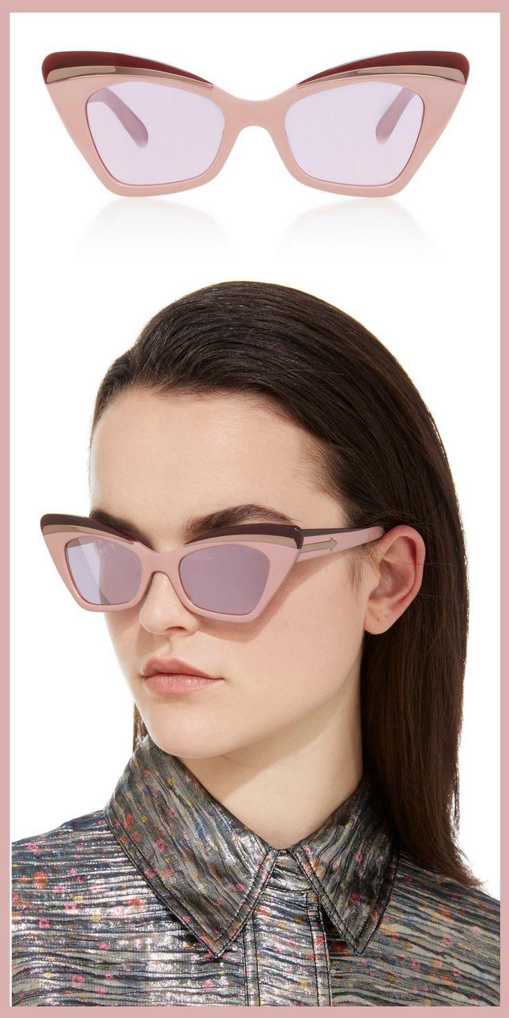 Pink and cat eye glasses, just my style! Karen Walker Babou Blush Cat-Eye Acetate and Metal Sunglasses afflink