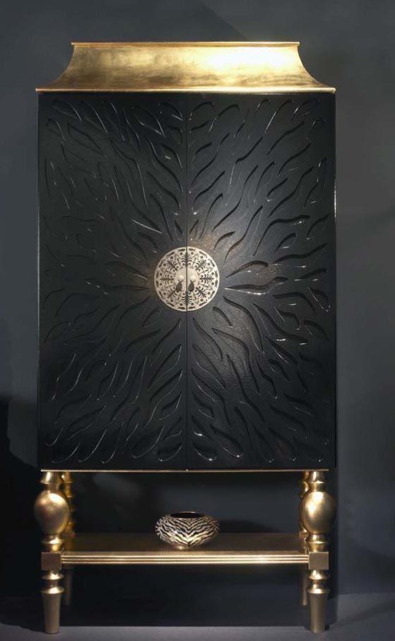 COCKTAIL CABINET DESIGN 5878 BLACK GOLD LEAF - A RARE UNIQUE DESIGNER COCKTAIL CABINET FINISHED IN BLACK 'CRAQUELE' WITH GOLD OR SILVER LEAF...