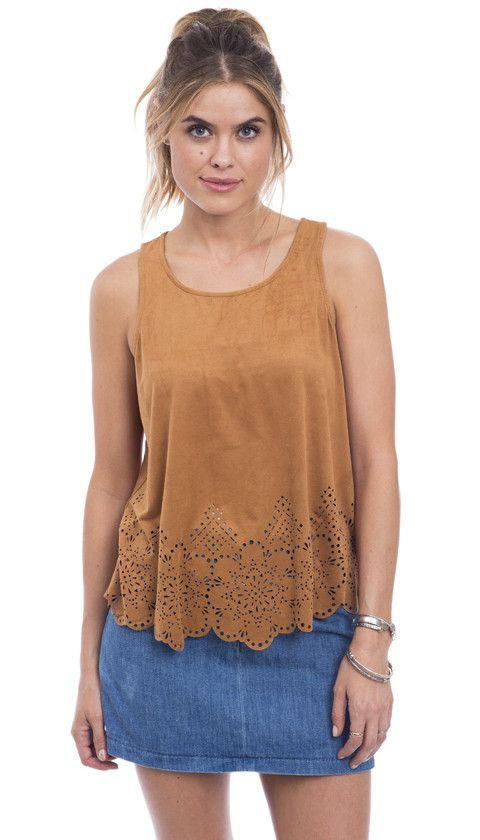 Suede This Way Laser Cut Tank Top