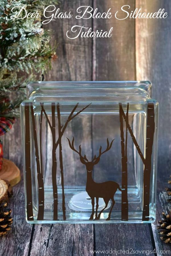 Christmas Deer Glass Block Silhouette Tutorial - A Spark of Creativity