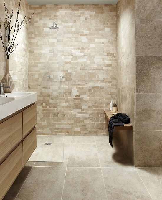 Lovely Tops Tiles Antalya Cream Irregular Linear Mosaic £12.59 A Tile Size 30.6cm  X 30.6. Beige BathroomStone ...