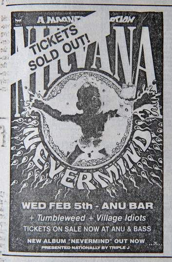 An advertisement for Nirvana's gig at The ANU Bar as it appeared in the Canberra Times on February 5, 1992.