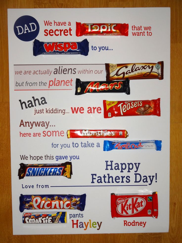 Typographic chocolate bar letter Fathers Day gift Diy