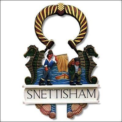 Snettisham, Norfolk. Robert Lewis Woodcarving - Hand Carved Village Signs