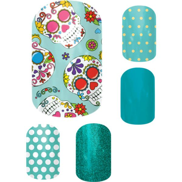 """Jamberry combos - Dia De Los Muertos"" by andrearuelling on Polyvore #jamberry #fall #nails"