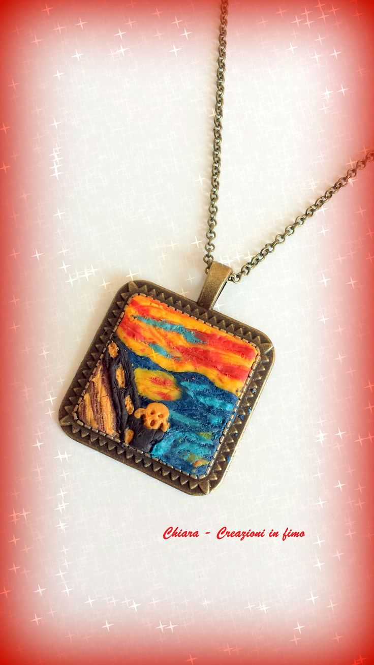 Ciondolo in #fimo #L'urlo di #Munch #thescream #polymerclay #ideeregalonatale #christmasgift