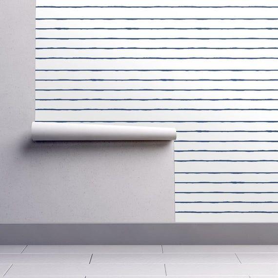 Navy Nautical Stripe Wallpaper Swim Lane Stripe White Navy Etsy Striped Wallpaper Wallpaper Nautical Stripe