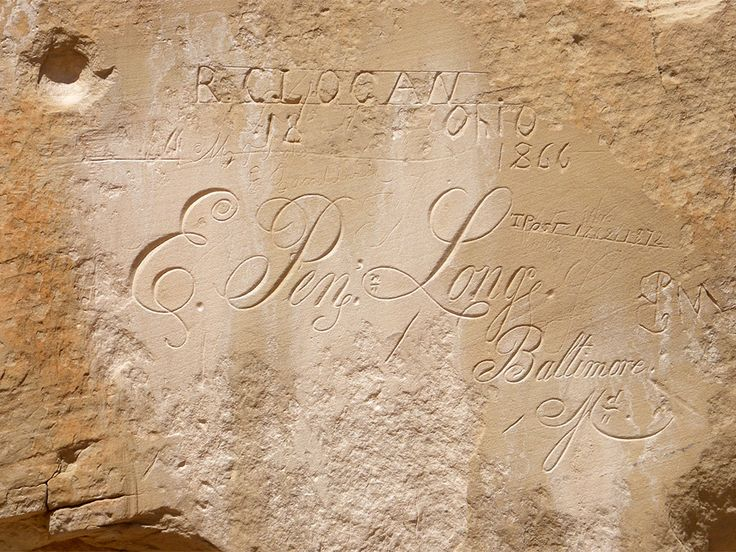E P Long, Baltimore, 1860s -- one of many historic/prehistoric inscriptions found on the Inscription Rock cliffs.  El Morro National Monument, New Mexico