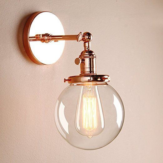 """Permo Vintage Industrial Wall Sconce Lighting Fixture with Mini 5.9"""" Round Clear Glass Globe Hand Blown Shade (Copper)"""