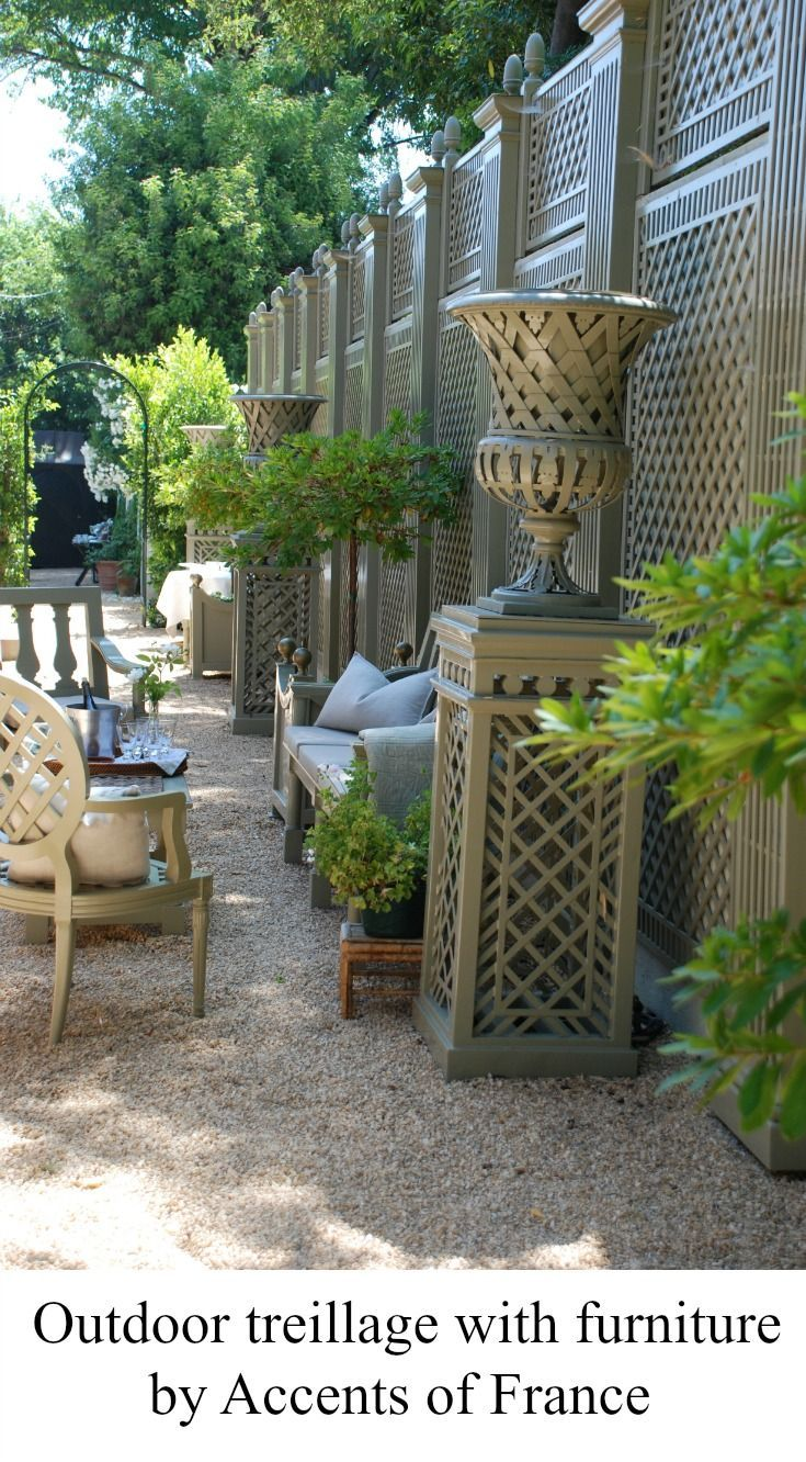 outdoor design with treillage, pedestals, vases, chairs, benches, planters, all made by Accents of France