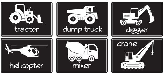 Big Construction Machines- SIZE LARGE- Vinyl Wall Decals.                     Custom colors available