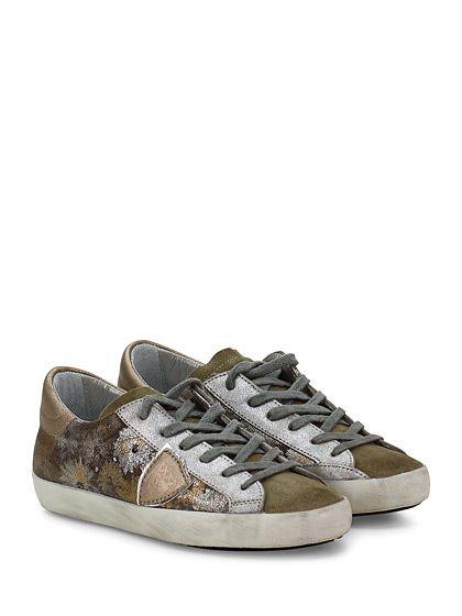 PHILIPPE MODEL PARIS - Sneakers - Donna - Sneaker in pelle laminata stampata effetto crack e camoscio con logo su lato esterno e suola in gomma. Tacco 25. - CAMEL\PLATINO - € 208.00
