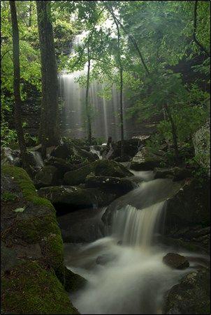 AR: Bridal Veil Falls in Heber Springs in Arkansas  Road off Hwy 25