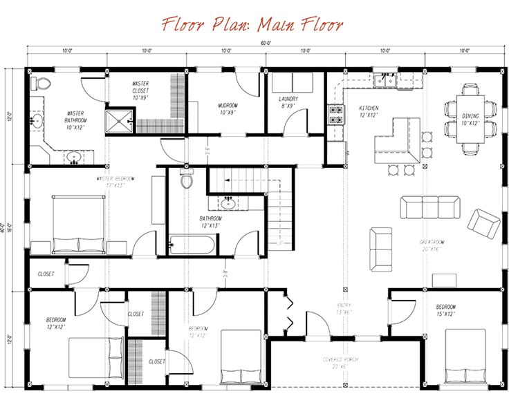 Pre designed barn home main floor plan layout house for Pre designed home plans