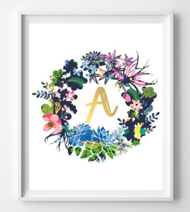 Initial Wreath Printables for Free