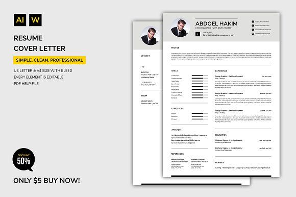 Resume Cover Letter By Machruzah On Creativemarket Stationery Template Employment Design Cover Letter For Resume Resume Design Template Graphic Resume