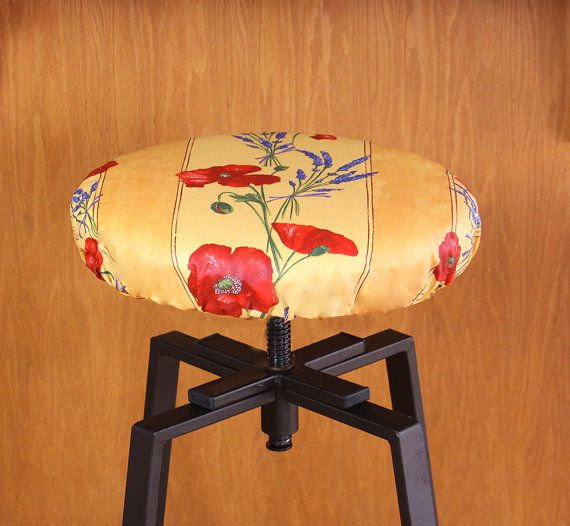 Bar Stool Cover Poppies and Lavender in Gold  by SoleildeProvence