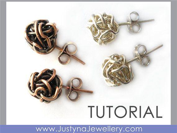 Muestra de Pendientes de hilo anudado tutorial cómo hacer dos tipos de alambre anudado unos aretes clásicos y aretes. El nudo de alambre es un