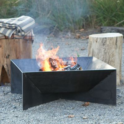 """Made from solid steel, this angular fire pit brings clean lines and long-term durability to outdoor gatherings. Over time, the natural steel responds to the elements by developing a reactive patina or rust as a protective barrier in a shade of deep brown.- Steel- Will develop a reactive patina - Outdoor use- Handmade in the USA11.5""""H, 30""""W, 30""""L"""