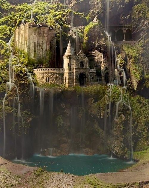 Waterfall Castle, The Enchanted Wood. photoshop art created by Ruben Drakkar http://rubendrakkar.cgsociety.org/gallery/472282/
