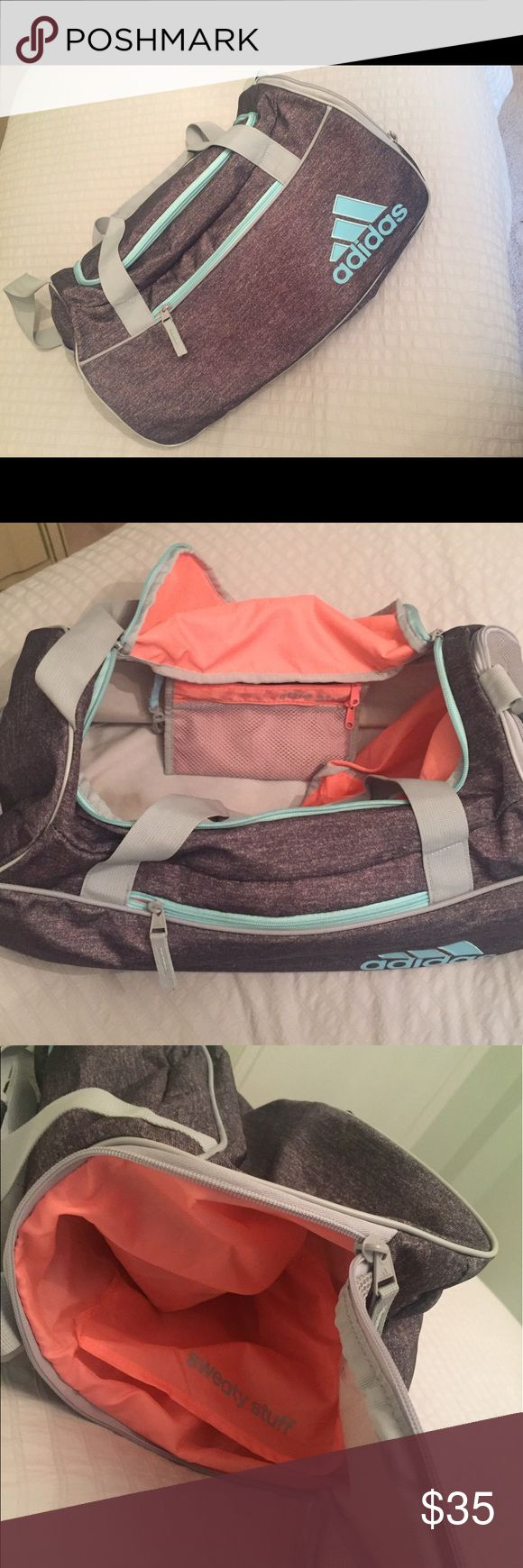 Adidas women duffel bag Perfect conditions..used twice cute colors is medium size Dimensions 12''x11''x21'' Roomy zip main compartment; Side zip pocket; Mesh pocket on end, adjustable shoulder strap,padded carry handles adidas Bags Travel Bags