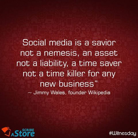 #Socialmedia is a savior and not a nemesis.  More on our Social Media promotions for your #eCommerce website at www.scribeastore.com #getsocial #marketing #startup #startupevents #India #onlinebusiness #marketingtips #eTail #onlineretail #WednesdayWisdom #Witnesday
