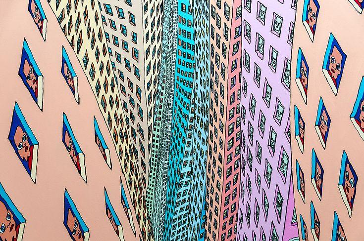 """olieverf op doek oil on canvas  Pushwagner: Soft City Boijmans Van Beuningen, Rotterdam 2013  Pushwagner volgde zijn opleiding aan de Kunstacademie in Oslo en aan Cité Internationale des Arts Paris. In 2008 nam hij deel aan de Biënnale van Berlijn waarmee hij zijn grote doorbraak beleefde. De kunstenaar beschrijft zichzelf als een 'spiritueel student' van de Noorse auteur Axel Jensen, die hij in 1968 ontmoette. Hij illustreerde Jensen's boek """"Og resten står skrivd i stjernene/And the Rest…"""