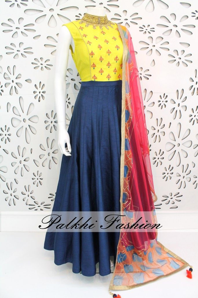 PalkhiFashion Exclusive Full Flair Blue/Light Yellow Soft Silk Outfit with Elegant Hand Work & Attractive Duppata.