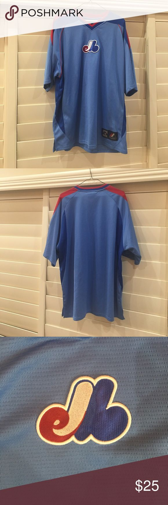 Men's Majestic Montreal Expo Baseball Jersey Sz L Men's Majestic Montreal Expo Baseball Jersey Short Sleeve - Size Large - From the Cooperstown Collection!  Jersey only worn several times!  In perfect condition no defects! Majestic Shirts Tees - Short Sleeve
