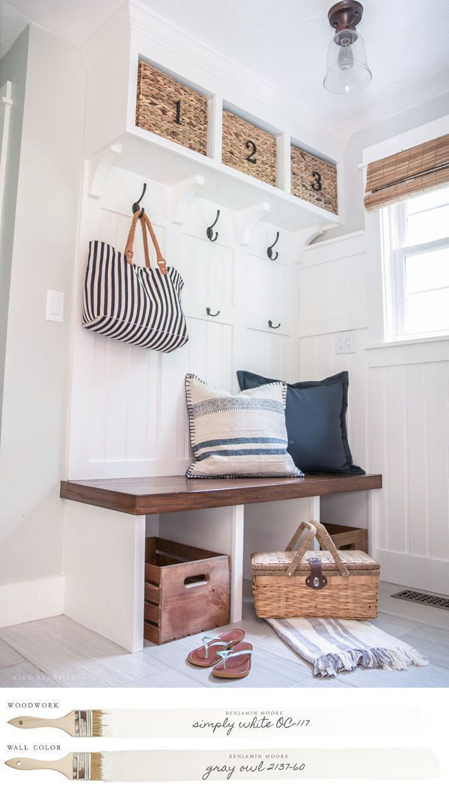 New England Farmhouse Neutral Paint Color Scheme | Mudroom with custom-built storage painted Benjamin Moore's Simpy White. #farmhouse #farmhousedecor #modernfarmhouse #homedecor