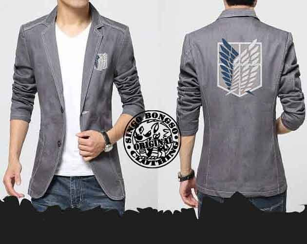 BLAZER SNK GREY Price IDR 269000 USD 32 Material Denim Application Screen EreriAnime StoreInspired