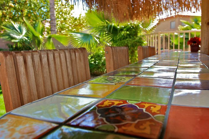 Beautiful tile design in this outdoor seating area #backyard