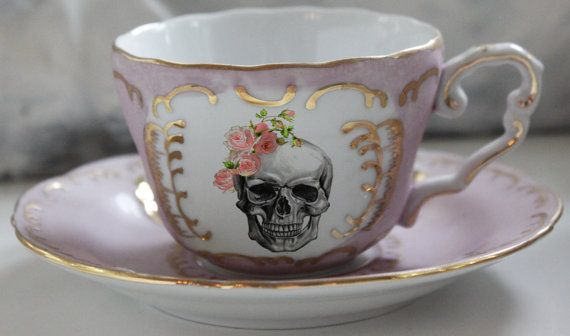 GORGEOUS BLUE OR PINK AND GOLD SKULL 6 OZ CUP AND SAUCER SET!  WE COMBINE SHIPPING! EACH ADDITIONAL ITEM JUST $5.  This stunning 6 ounce