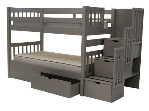 Bunk Bed Twin over Twin Stairway Gray with Drawers for only $825