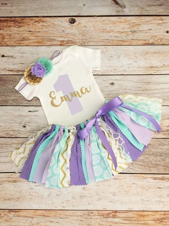 Lavender and Mint Baby Girl First Birthday Outfit with Name, Mint Lavender and Gold First Birthday O